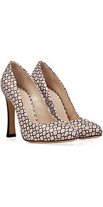 Black/White Multi Blocky Heel Leather Pumps - occasions: casual, evening, work, occasion; predominant colour: multicoloured; material: leather; heel height: high; heel: block; toe: round toe; style: courts; finish: plain; pattern: patterned/print