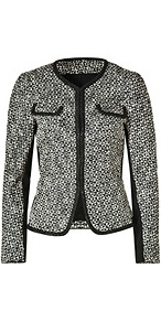 Black/Cream Basket Tweed Jacket - style: single breasted blazer; bust detail: added detail/embellishment at bust; collar: round collar/collarless; pattern: herringbone/tweed; predominant colour: black; occasions: casual, evening, work, occasion; length: standard; fit: straight cut (boxy); fibres: cotton - 100%; sleeve length: long sleeve; sleeve style: standard; collar break: high; pattern type: fabric; pattern size: small &amp; light; texture group: tweed - light/midweight
