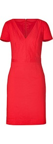 Passion Fruit V Neck Dress - style: shift; length: mid thigh; neckline: low v-neck; fit: tailored/fitted; pattern: plain; waist detail: fitted waist; hip detail: fitted at hip; predominant colour: true red; occasions: casual, evening, work, occasion; sleeve length: short sleeve; sleeve style: standard; texture group: structured shiny - satin/tafetta/silk etc.; pattern type: fabric; fibres: viscose/rayon - mix