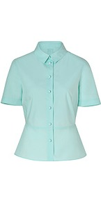 Mint Cotton Shirt - neckline: shirt collar/peter pan/zip with opening; pattern: plain; style: shirt; waist detail: peplum waist detail; predominant colour: pistachio; occasions: casual, evening, work; length: standard; fibres: cotton - 100%; fit: tailored/fitted; sleeve length: short sleeve; sleeve style: standard; texture group: cotton feel fabrics; pattern type: fabric; pattern size: standard