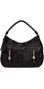 Black Textured Leather Tasseled Hobo - predominant colour: black; occasions: casual, work; type of pattern: standard; style: shoulder; length: shoulder (tucks under arm); size: standard; material: leather; embellishment: tassels; pattern: plain; finish: plain