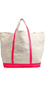 White/Neon Rose Linen Tote - predominant colour: white; occasions: casual, holiday; type of pattern: standard; style: tote; length: handle; size: standard; material: fabric; embellishment: sequins; pattern: plain; finish: plain