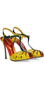 Yellow/Forest Patent Leather Sandals - predominant colour: yellow; occasions: evening, occasion; material: leather; embellishment: buckles; ankle detail: ankle strap; heel: stiletto; toe: open toe/peeptoe; style: strappy; finish: patent; pattern: colourblock; heel height: very high