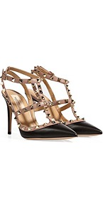 Black/Powder Leather Rockstud Pumps - predominant colour: black; occasions: evening, work, occasion; material: leather; heel height: high; embellishment: buckles, studs; ankle detail: ankle strap; heel: stiletto; toe: pointed toe; style: t-bar; finish: plain; pattern: two-tone