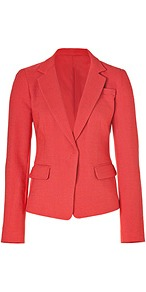Passion Fruit Textured Linen Blend Blazer - pattern: plain; style: single breasted blazer; collar: standard lapel/rever collar; predominant colour: coral; occasions: evening, work, occasion; length: standard; fit: tailored/fitted; fibres: linen - mix; waist detail: fitted waist; sleeve length: long sleeve; sleeve style: standard; collar break: low/open; pattern type: fabric; pattern size: standard; texture group: woven light midweight