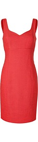 Passion Fruit Textured Linen Blend Sheath Dress - style: shift; sleeve style: standard vest straps/shoulder straps; fit: tailored/fitted; pattern: plain; waist detail: fitted waist; neckline: sweetheart; predominant colour: true red; occasions: evening, work, occasion; length: just above the knee; fibres: linen - mix; sleeve length: sleeveless; texture group: linen; trends: glamorous day shifts; pattern type: fabric; pattern size: standard