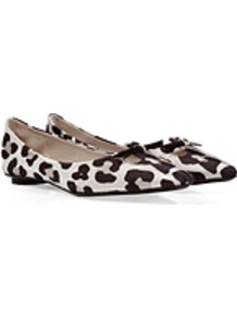 Black/White Leopard Print Fabric Flats - occasions: casual, evening, work; material: fabric; heel height: flat; toe: pointed toe; style: ballerinas / pumps; predominant colour: monochrome; finish: plain; pattern: animal print; embellishment: bow