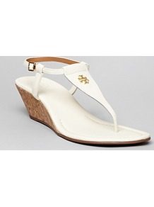 Thong Demi Wedge Sandals Britton - predominant colour: white; occasions: casual, evening, work, holiday; material: leather; heel height: mid; embellishment: buckles, chain/metal; ankle detail: ankle strap; heel: wedge; toe: toe thongs; style: flip flops / toe post; finish: plain; pattern: plain