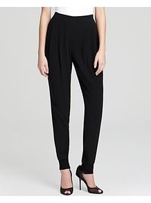 Ankle Pants With Cuffs - length: standard; pattern: plain; pocket detail: pockets at the sides; waist: mid/regular rise; predominant colour: black; occasions: casual, evening, work; fibres: silk - 100%; hip detail: front pleats at hip level; texture group: silky - light; fit: tapered; pattern type: fabric; style: standard