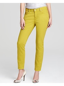 Skinny Ankle Jeans - style: skinny leg; length: standard; pattern: plain; pocket detail: traditional 5 pocket; waist: mid/regular rise; predominant colour: lime; occasions: casual; fibres: cotton - stretch; texture group: denim; pattern type: fabric; pattern size: standard