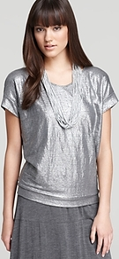 Metallic Dolman Wedge Top - neckline: round neck; pattern: plain; predominant colour: silver; occasions: casual, evening, work, holiday; length: standard; style: top; fibres: linen - 100%; fit: loose; sleeve length: short sleeve; sleeve style: standard; trends: metallics; pattern type: fabric; pattern size: standard; texture group: jersey - stretchy/drapey