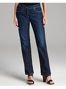 Straight Jeans - style: straight leg; length: standard; pattern: plain; waist: high rise; pocket detail: traditional 5 pocket; predominant colour: navy; occasions: casual; fibres: cotton - mix; jeans detail: whiskering, shading down centre of thigh, washed/faded; texture group: denim; pattern type: fabric; pattern size: standard