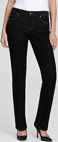 Straight Jeans In Vintage Black - style: straight leg; length: standard; pattern: plain; pocket detail: traditional 5 pocket; waist: mid/regular rise; predominant colour: black; occasions: casual; fibres: cotton - mix; jeans detail: dark wash; texture group: denim; pattern type: fabric; pattern size: standard