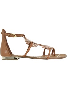 Tyra Saddle Sandals - predominant colour: tan; occasions: casual, holiday; material: leather; heel height: flat; embellishment: crystals; ankle detail: ankle strap; heel: standard; toe: toe thongs; style: gladiators; finish: plain; pattern: plain