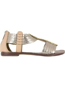 Gatsby Light Gold Metal Sandals - occasions: casual, holiday; predominant colour: multicoloured; material: leather; heel height: flat; embellishment: beading; ankle detail: ankle strap; heel: standard; toe: open toe/peeptoe; style: gladiators; trends: metallics; finish: metallic; pattern: colourblock