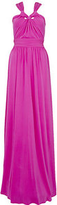 Knotted Neck Gown - neckline: v-neck; fit: fitted at waist; pattern: plain; sleeve style: sleeveless; style: maxi dress; waist detail: fitted waist, wide waistband/cummerbund, twist front waist detail/nipped in at waist on one side/soft pleats/draping/ruching/gathering waist detail; bust detail: ruching/gathering/draping/layers/pintuck pleats at bust, knot twist front detail at bust; predominant colour: hot pink; occasions: evening, occasion; length: floor length; fibres: polyester/polyamide - 100%; hip detail: soft pleats at hip/draping at hip/flared at hip; back detail: crossover, keyhole/peephole detail at back; sleeve length: sleeveless; pattern type: fabric; texture group: jersey - stretchy/drapey