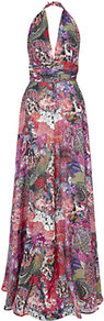 Digital Print Halterneck Gown - sleeve style: sleeveless; style: maxi dress; waist detail: fitted waist, twist front waist detail/nipped in at waist on one side/soft pleats/draping/ruching/gathering waist detail; neckline: halter neck; back detail: low cut/open back; occasions: evening, occasion; length: floor length; fit: fitted at waist &amp; bust; fibres: silk - 100%; hip detail: soft pleats at hip/draping at hip/flared at hip; predominant colour: multicoloured; sleeve length: sleeveless; texture group: sheer fabrics/chiffon/organza etc.; trends: statement prints; pattern type: fabric; pattern size: big &amp; busy; pattern: patterned/print