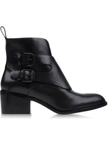 Boots Ankle Boots On Shoescribe.Com - predominant colour: black; occasions: casual; material: leather; heel height: mid; embellishment: buckles; heel: block; toe: round toe; boot length: ankle boot; style: standard; finish: plain; pattern: plain