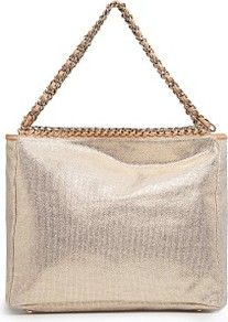 Touch Chains Metallic Tote Bag - secondary colour: nude; predominant colour: champagne; occasions: casual; style: tote; length: handle; size: standard; material: fabric; pattern: plain; trends: metallics; finish: metallic; embellishment: chain/metal