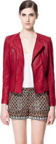 Leather Jacket With Studs - pattern: plain; style: biker; collar: asymmetric biker; fit: slim fit; predominant colour: true red; occasions: casual, evening; length: standard; fibres: leather - 100%; sleeve length: long sleeve; sleeve style: standard; texture group: leather; collar break: medium; pattern type: fabric; pattern size: standard