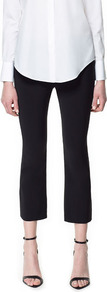 Studio Cropped Trousers - pattern: plain; pocket detail: small back pockets, pockets at the sides; waist: mid/regular rise; predominant colour: black; occasions: casual, evening, work; length: calf length; fibres: viscose/rayon - stretch; texture group: crepes; fit: slim leg; pattern type: fabric; pattern size: standard; style: standard