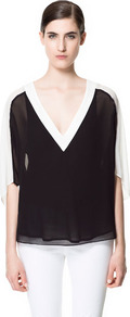 Combined Blouse - neckline: low v-neck; pattern: plain, colourblock; style: blouse; shoulder detail: contrast pattern/fabric at shoulder; back detail: contrast pattern/fabric at back; predominant colour: black; occasions: casual, evening, work, occasion; length: standard; fibres: polyester/polyamide - 100%; fit: loose; sleeve length: 3/4 length; sleeve style: standard; texture group: sheer fabrics/chiffon/organza etc.; pattern type: fabric; pattern size: standard