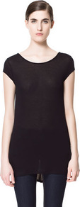 T Shirt With Asymmetric Hem - neckline: round neck; sleeve style: capped; pattern: plain; back detail: cowl/draping/scoop at back, longer hem at back than at front; length: below the bottom; style: t-shirt; predominant colour: black; occasions: casual; fibres: polyester/polyamide - 100%; fit: loose; sleeve length: short sleeve; pattern type: fabric; pattern size: standard; texture group: jersey - stretchy/drapey