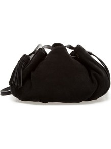 Suede Messenger Bag - predominant colour: black; occasions: casual, evening, work; style: onion bag; length: across body/long; size: small; material: suede; embellishment: tassels; pattern: plain; finish: plain