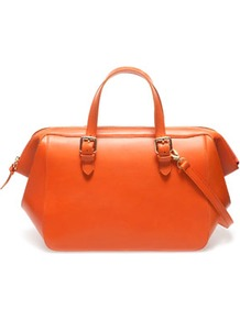 Leather Bowling Bag - predominant colour: bright orange; occasions: casual, work; type of pattern: standard; style: bowling; length: handle; size: standard; material: leather; pattern: plain; finish: plain; embellishment: buckles