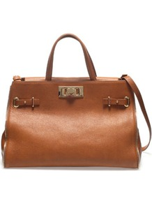 Office City Bag - predominant colour: tan; occasions: casual, work; style: tote; length: handle; size: standard; material: leather; pattern: plain; finish: plain; embellishment: buckles, chain/metal