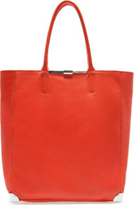 Leather Shopper - predominant colour: coral; occasions: casual, work; style: tote; length: handle; size: standard; material: leather; pattern: plain; finish: plain