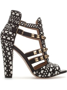 Studded Sandals - predominant colour: black; occasions: evening, occasion, holiday; material: leather; heel height: high; embellishment: buckles, studs; ankle detail: ankle strap; heel: block; toe: open toe/peeptoe; style: strappy; finish: plain; pattern: patterned/print