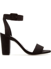 Medium Height Sandal - predominant colour: black; occasions: evening, work, occasion; material: fabric; heel height: high; embellishment: buckles; ankle detail: ankle strap; heel: block; toe: open toe/peeptoe; style: standard; finish: plain; pattern: plain