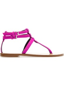 Leather Thong Sandals - predominant colour: hot pink; occasions: casual, holiday; material: suede; heel height: flat; embellishment: buckles; ankle detail: ankle strap; heel: standard; toe: toe thongs; style: flip flops / toe post; finish: plain; pattern: plain