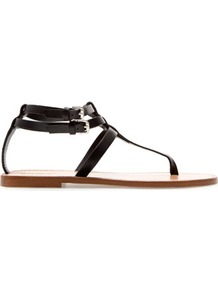 Flat Thong Sandals With Buckle - predominant colour: black; occasions: casual, holiday; material: leather; heel height: flat; embellishment: buckles; ankle detail: ankle strap; heel: standard; toe: toe thongs; style: flip flops / toe post; finish: plain; pattern: plain