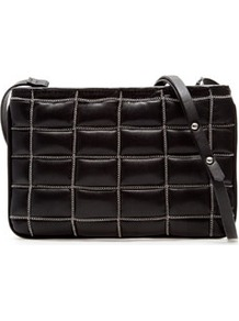 Quilted Messenger Bag With Chains - predominant colour: black; occasions: casual, evening; type of pattern: standard; style: shoulder; length: across body/long; size: small; material: faux leather; embellishment: quilted, chain/metal; pattern: plain; finish: plain