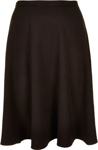 Black Milano Calf Skater Skirt - pattern: plain; fit: loose/voluminous; waist detail: fitted waist, narrow waistband; hip detail: fitted at hip, soft pleats at hip/draping at hip/flared at hip; waist: mid/regular rise; predominant colour: black; occasions: casual, evening, work; length: just above the knee; style: a-line; fibres: polyester/polyamide - stretch; trends: volume; pattern type: fabric; pattern size: standard; texture group: jersey - stretchy/drapey