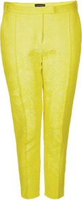 Jacquard Cigarette Trousers - pattern: plain; waist detail: fitted waist, narrow waistband; pocket detail: small back pockets, pockets at the sides; waist: mid/regular rise; predominant colour: yellow; occasions: casual, evening, work, occasion, holiday; length: ankle length; fibres: cotton - mix; hip detail: fitted at hip (bottoms); texture group: ornate wovens; trends: fluorescent; fit: slim leg; pattern type: fabric; pattern size: standard; style: standard