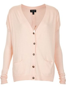 Knitted Split Back Cardi - neckline: low v-neck; predominant colour: blush; occasions: casual, work; length: standard; style: standard; fibres: polyester/polyamide - stretch; fit: loose; back detail: keyhole/peephole detail at back; sleeve length: long sleeve; sleeve style: standard; texture group: knits/crochet; pattern type: knitted - other; pattern size: standard