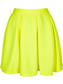Fluro Yellow Pleated Skirt - length: mini; pattern: plain; fit: loose/voluminous; style: pleated; waist detail: fitted waist, narrow waistband; waist: mid/regular rise; predominant colour: yellow; occasions: casual, evening, work, holiday; fibres: polyester/polyamide - stretch; hip detail: structured pleats at hip, soft pleats at hip/draping at hip/flared at hip, sculpting darts/pleats/seams at hip; trends: fluorescent, volume; pattern type: fabric; pattern size: standard; texture group: jersey - stretchy/drapey