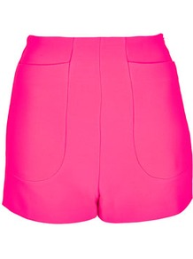 High Waist Jersey Shorts - pattern: plain; style: shorts; hip detail: front pockets at hip; waist: high rise; length: short shorts; predominant colour: hot pink; occasions: casual, evening, holiday; fibres: polyester/polyamide - mix; trends: sporty redux, fluorescent; fit: slim leg; pattern type: fabric; pattern size: standard; texture group: jersey - stretchy/drapey
