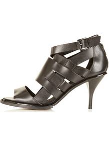 Nia Multi Strap Sandals - predominant colour: black; occasions: casual, evening, work, holiday; material: leather; heel height: mid; embellishment: buckles; ankle detail: ankle strap; heel: stiletto; toe: open toe/peeptoe; style: strappy; finish: plain; pattern: plain