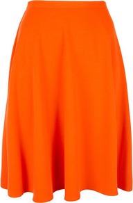 Orange Calf Skater Skirt - pattern: plain; fit: body skimming; waist detail: fitted waist, narrow waistband; hip detail: fitted at hip, soft pleats at hip/draping at hip/flared at hip, sculpting darts/pleats/seams at hip; waist: mid/regular rise; predominant colour: bright orange; occasions: casual, evening, work, holiday; length: just above the knee; style: a-line; fibres: polyester/polyamide - stretch; trends: fluorescent; pattern type: fabric; pattern size: standard; texture group: jersey - stretchy/drapey