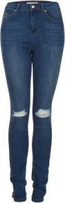 Tall Moto Carey Skinny Jeans - style: skinny leg; length: standard; pattern: plain; waist: high rise; pocket detail: traditional 5 pocket; predominant colour: denim; occasions: casual; fibres: cotton - stretch; jeans detail: whiskering, washed/faded; texture group: denim; pattern type: fabric; pattern size: small & light