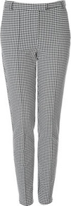 Tall Puppytooth Trousers - waist detail: fitted waist, narrow waistband; pocket detail: small back pockets; style: peg leg; pattern: herringbone/tweed, dogtooth; waist: mid/regular rise; predominant colour: black; occasions: casual, work; length: ankle length; fibres: cotton - mix; hip detail: fitted at hip (bottoms); trends: statement prints; fit: slim leg; pattern type: fabric; pattern size: small & busy; texture group: woven light midweight