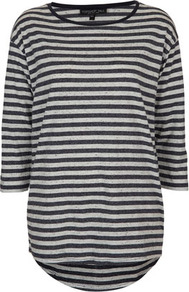 Tall Neppy Stripe Top - neckline: round neck; pattern: horizontal stripes, striped; length: below the bottom; style: t-shirt; predominant colour: navy; occasions: casual; fibres: cotton - mix; fit: straight cut; back detail: longer hem at back than at front; sleeve length: 3/4 length; sleeve style: standard; pattern type: fabric; pattern size: standard; texture group: jersey - stretchy/drapey