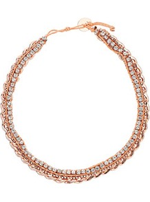 Premium Chain Rhinestone Collar - predominant colour: gold; occasions: casual, evening, work, occasion, holiday; style: choker/collar; length: short; size: standard; material: chain/metal; trends: metallics; finish: metallic; embellishment: chain/metal, crystals