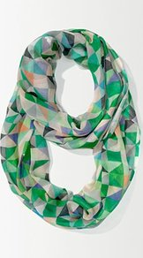 Geo Pastel Scarf - predominant colour: emerald green; occasions: casual, evening, work; type of pattern: standard; style: snood; size: large; material: silk; trends: modern geometrics; pattern: patterned/print