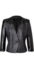 Old Silver/Black Cotton Linen Jacket With Leather Sleeves - style: cropped; length: cropped; collar: standard lapel/rever collar; shoulder detail: contrast pattern/fabric at shoulder; pattern: herringbone/tweed; predominant colour: black; occasions: casual, evening, work; fit: tailored/fitted; fibres: cotton - mix; sleeve length: 3/4 length; sleeve style: standard; texture group: ornate wovens; trends: metallics; collar break: medium; pattern type: fabric; pattern size: small & light