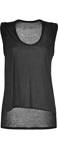 Black Tencel Top - neckline: round neck; pattern: plain; sleeve style: sleeveless; predominant colour: charcoal; occasions: casual; length: standard; style: top; fibres: polyester/polyamide - 100%; fit: loose; back detail: longer hem at back than at front; sleeve length: sleeveless; pattern type: fabric; pattern size: standard; texture group: jersey - stretchy/drapey